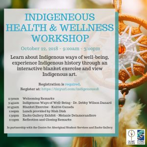 Indigenous Health and Wellness Workshop poster