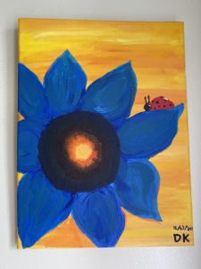 """Flower painting by Danai Kokkinopoulou. Danai said, """"I have been to 2 speed painting so far. One of them was last year, one of their first ones, and the most recent one."""""""