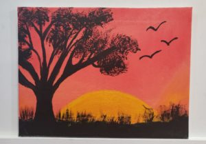 """Sunset Painting by Agata Stypka. Agata said, """"It was a wonderful evening. I learned new painting techniques, I met new students but most importantly I was surrounded by a supportive community.""""."""