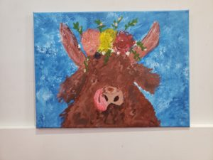 """Bull Painting by Agata Stypka. Agata said, """"Experimenting with new techniques, mixing colours, and connecting with students, faculty, and staff was joyful.""""."""