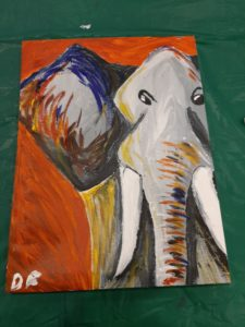"""Elephant Painting by Dave Flora. Dave said, """"I've attended several speed painting workshops. The students leading the workshops are always very helpful and knowledgable""""."""