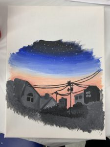"""House Painting by Nayantara Prem. Nayantara said, """"Attending the Clay Workshop was an amazing experience. It was definitely a stress-buster!""""."""