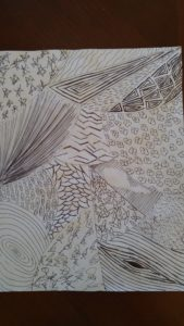 """Texture drawing by Mazen Hamadeh. Mazen said, """"My artwork is entitled """"Juxtapositioning"""". I created it at the """"Drawing Essentials: Texture"""" workshop that took place on Fri May 1, 2020 @ 6 pm, facilitated by Simran Bouns. Thank you.""""."""