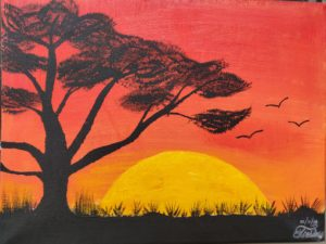 """Sunset Painting by Tsering Yangchen. Tsering said, """"It's always so much fun at speed painting sessions!"""""""