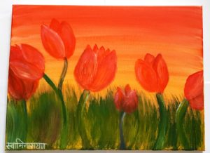 """Tulip Painting by Jayestha Amin. Jayestha said, """"It was a fun experience to the attend speed painting workshop where I had time to explore my creativity and learn some new skills""""."""